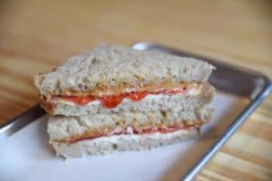 The PB&J sandwich at Green Dirt Farm Creamery has a twist: it's made with a spreadable fresh sheep cheese!