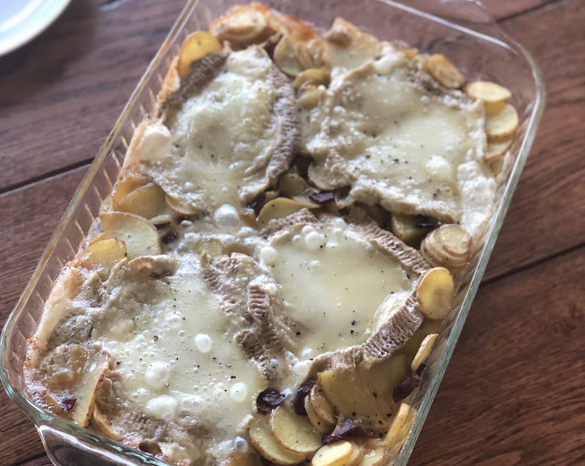 Try this tartiflette recipe with Green Dirt Farm's brie inspired sheep cheese, Bossa.